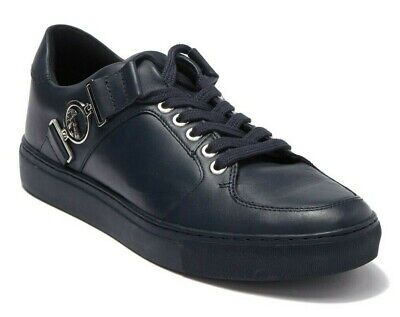 $625 VERSACE COLLECTION Mens Medusa Leather Low Top Sneakers Blue Size 42 / US 9