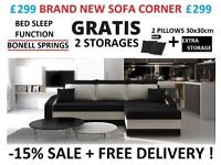 NEW SOFA CORNER BED SLEEP FUNCTION BONNELL SPRINGS 24H FREE DEL!VERY UK STOCK 2 STORAGES -15% SALE