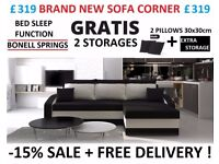 BRAND NEW SOFA CORNER BED SLEEP FUNCTION BONELL SPRINGS 2 STORAGES FREE DELIVERY 24h ALL COLORS IN