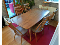 Ercol Vintage Elm Large Plank Dining Kitchen Table 6 Goldsmith Chairs Retro 60s