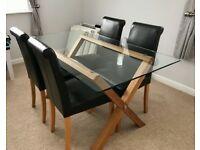 Solid oak and glass dining table & chairs x 4
