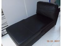 Chaise part of sofa in soft leather - with storage ottoman - NEW