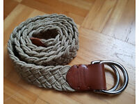 MUST SEE - Genuine Ralph Lauren Polo D Buckle Woven Mens Belt + Leather Details