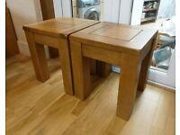 Oak Furnitureland Side Table Wooden Original Rustic Solid Oak (Pair)