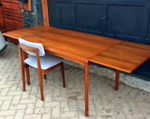 REFINISHED Danish Mid Century Modern Extendable Teak Dining Table With 2 Leaves By Henning Kjaernulf
