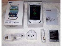 Samsung Galaxy S3 mini WHITE in a Box with all the Accessories SIM FREE UNLOCKED to All Networks