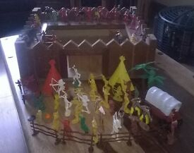 cowboy and indian figures plus boys wooden fort