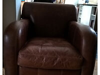 Laura Ashley Leather Chair in Good Condition