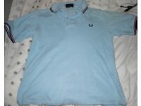 """£5 BARGAIN-Fred Perry - Beautiful Polo shirt, light blue with a dark blue and red trim - 44"""" XL"""