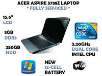 Acer Aspire 5738Z FULLY SERVICED WITH NEW BATTERY & NEW WINDOWS 7 INSTALLATION - UPGRADED TO 3GB RAM