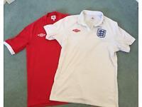 2 x England football shirts