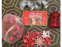 Red Christmas decoration job lot