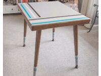 Retro styled card/ occasional table in shabby chic grey with teal, brown and cream accent stripes
