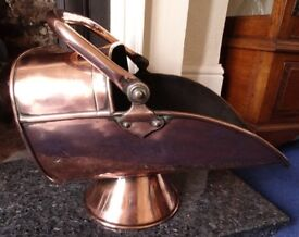 Vintage Highly Polished Copper Coal Scuttle