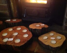 BEAUTIFUL WOODEN TEA LIGHT CENTREPIECES PERFECT FOR CHRISTMAS