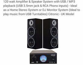 Citronic 120w Dj monitoring system (Amp & speakers)