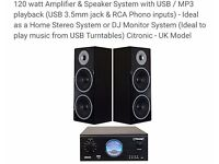 Citronic 120w Dj monitoring system (Amp & speakers)