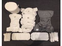 Little Lamb bamboo size 1 reusable washable nappies + coveralls + bamboo liners