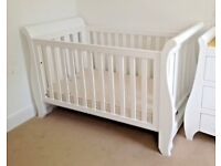 Boori Sleigh Cotbed Cot Bed White RRP £699 - Little Green Sheep Mattress Also Available