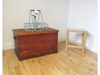 Vintage Stained Pine Storage Chest / Coffee Table / Blanket Box