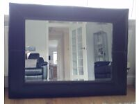 Wall mirror brown faux leather 120x90cm