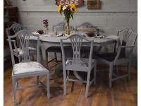 Shabby Chic Italian Dining Table & 6 Chairs Grey Velvet Fabric
