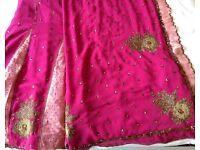 Beautiful Brand New Chiffon Dark Pink Sari