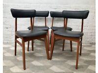 4 x Vintage Retro Black Vinyl Dining Chairs #778