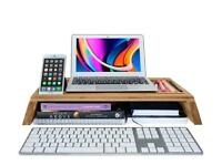 BRAND NEW BOXED - Bamboo Monitor Desk Space Saver - Laptop Tablet Stand - Desk Organiser & Tidy