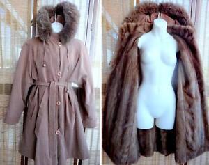 $1800 MINK-LINED COAT //WOMENS 12 14 // SWING // Belt HOOD REAL FUR TRIM // Custom-Made Canada M L Brown / REAL FUR