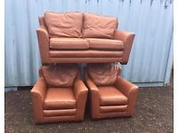 Italian Tan leather suite (Delivery Included)
