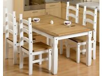DELIVERING NEW Corona Mexican white 5ft dining table with 4 chairs £299