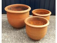 Set of Three Terracotta Garden Plant Pots VGC - cash on collection from Gosport Hampshire