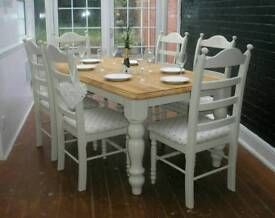 Beautiful Shabby Chic Solid Oak 6ft Farmhouse Dining Table and 6 Chairs