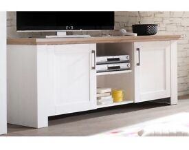 Brand New White and Wood Wayfair Country TV Stand