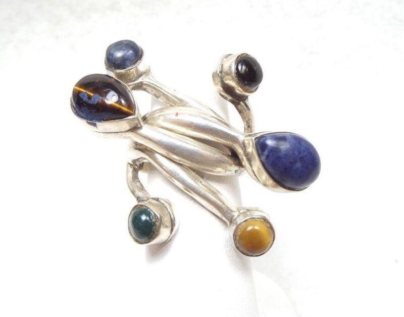 Modernist Vintage Huge Silver Ring w/ Multiple Stones ~ Looks like a sculpture~