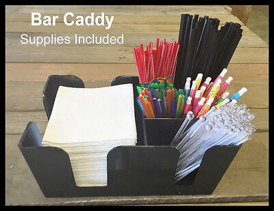 6-compartment Plastic Bar Caddy Black Supplies Included