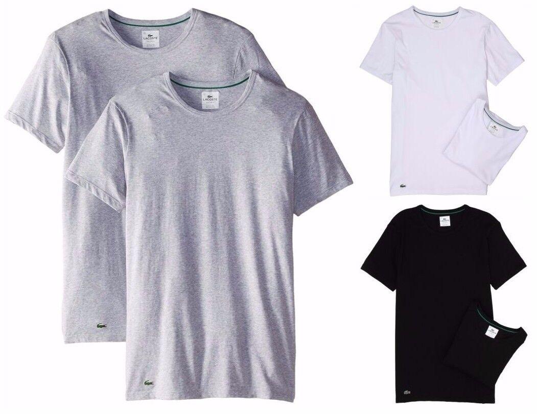 e843db3d846ff Lacoste 2 Pack T shirts Slim Fit Crew Neck Black Grey White RAM8702 NEW фото