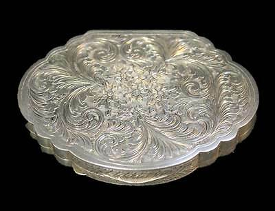 Antique 800 Silver Compact Mirror Surface Engraved Feather Floral Pattern