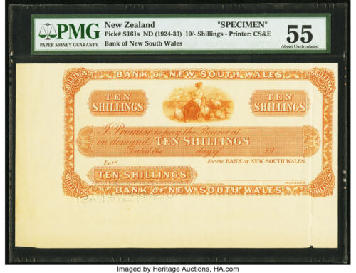 New Zealand Bank of New South Wales 10 Shillings ND 1924-33 Pick S161s Specimen