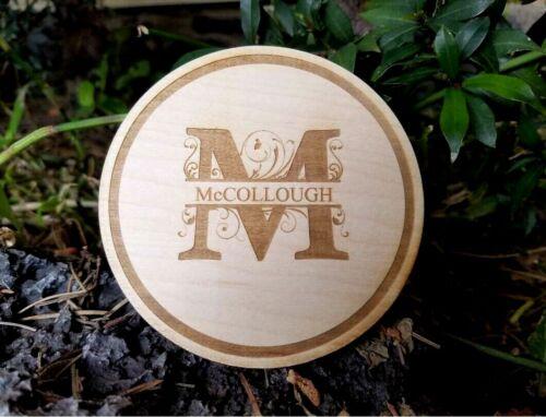 Personalized Circle Round Monogram Wood Drink Coasters - Set Of 4