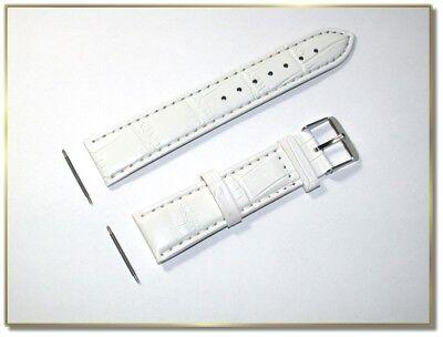 Veganer Leder Uhrenarmband, weiss, 20mm breit, 2,5mm dick (2179)
