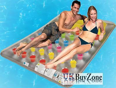 2 Person 36 Pockets Inflatable Double Pool Lounger Chair Lilo Air Bed Mat Float
