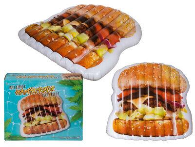 GIANT QUALITY FUNKY HAMBURGER INFLATABLE SWIM POOL FLOAT RAFT LILO - Inflatable Hamburger