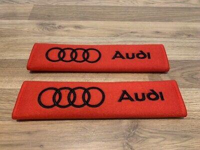 2X Seat Belt Pads Cotton Audi S Line A1 A3 A4 A5 A6 A7 A8 TT RS Q3 Q5 Q7 Sport