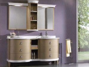 Mobile bagno con lavabo e specchio legno massello bombato vari colori - Mobile bombato bagno ...