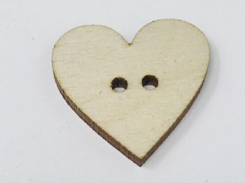 """(10 pk) 1"""" Heart Shaped Wooden Button w/ 4 holes (stainable, paintable, & more)"""