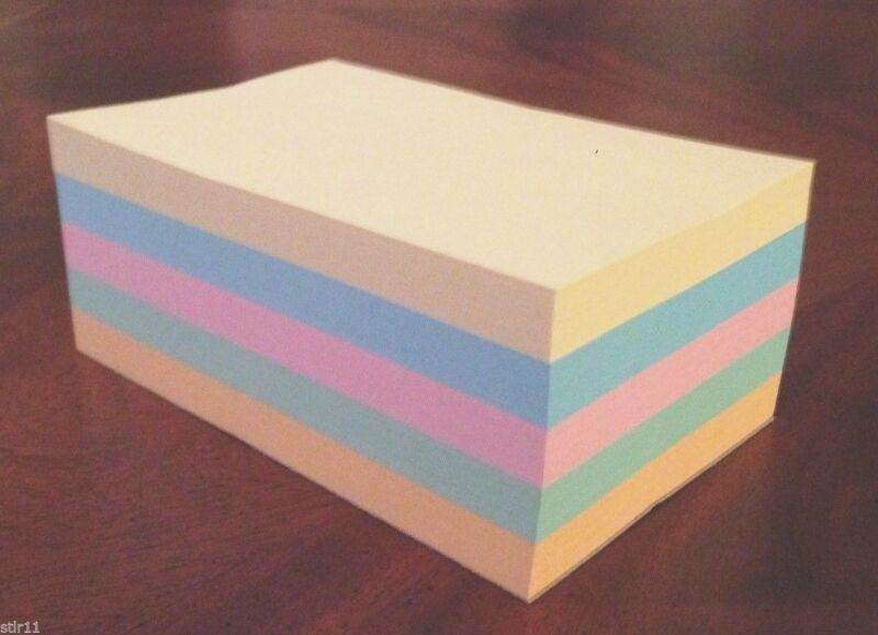 """Refill Note Paper  - Loose Rectangular Sheets - 4 x 6 """" ( 5 Different Colors )"""