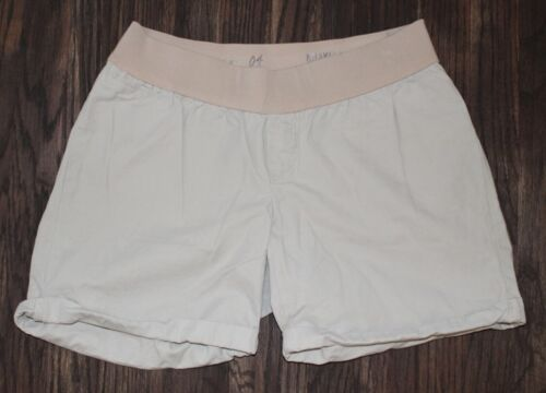 Gap Maternity Beige Cotton Low Panel Boyfriend Roll Up Shorts Size 4