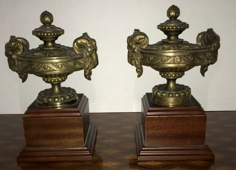 Antique Pair Bronze Neoclassical Rams Head Urns On Wood Base